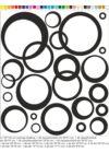 modern absztrakt kör falmatrica, lila, fekete, zöld, fehér faltetoválás