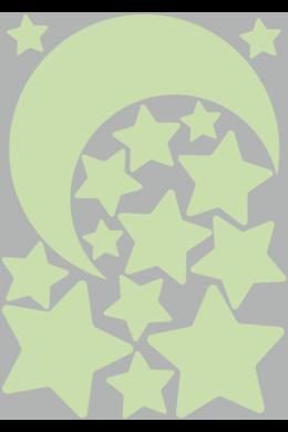Hold és csillagok falmatrica csomag – világító