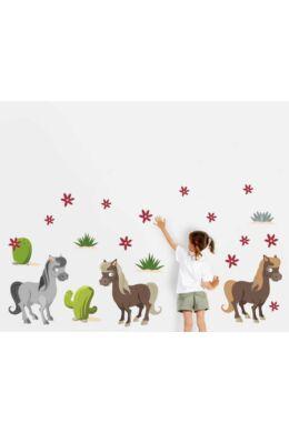 Lovas falmatrica gyerekszobába - Lovak kaktusszal falmatrica csomag