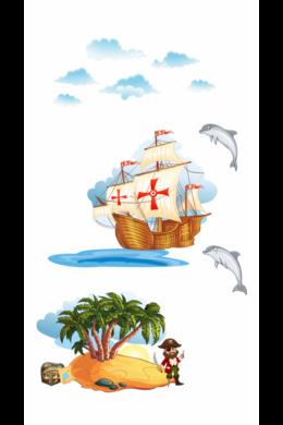 Kincses sziget kalózhajóval falmatrica gyerekeknek