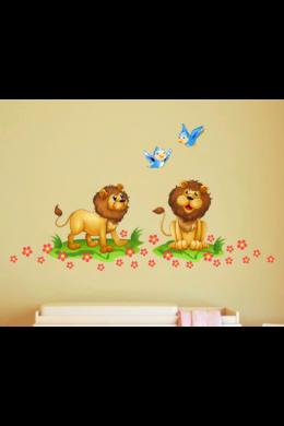 Vidám oroszlánok falmatrica gyerekszobába