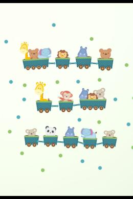 Vidáman vonatozó állatok falmatrica gyerekszobába