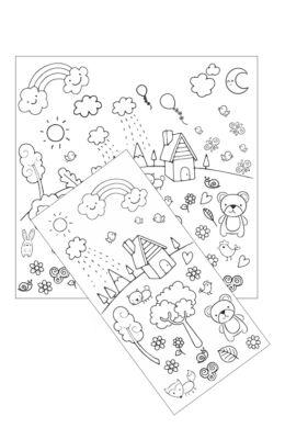 Domboldal - színezhető falmatrica gyerekeknek - 32x65 cm