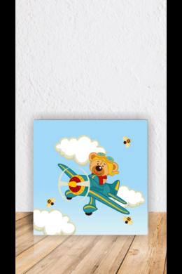 Maci repülőn gyerekszoba dekoráció