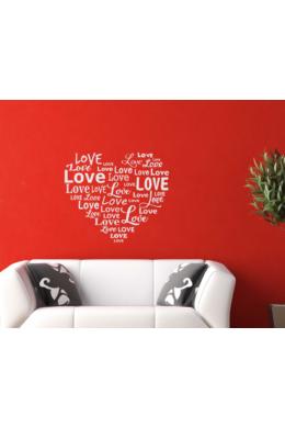 Szív faltetoválás LOVE feliratokból