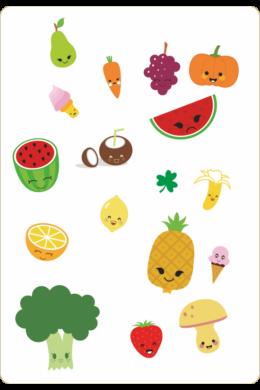 Zöldségek és gyümölcsök gyerekszoba falmatrica csomag