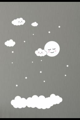 Hold, felhők és csillagok babaszoba falmatrica csomag