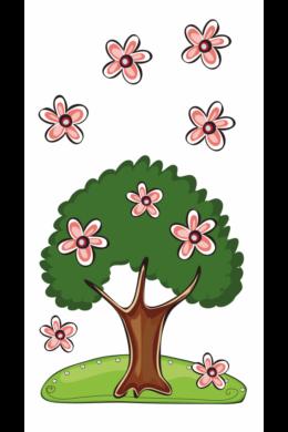 Virágokkal feldíszített lombos fa falmatrica gyerekszobába