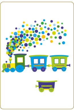 Vonat pöttyös füsttel gyerekszoba falmatrica