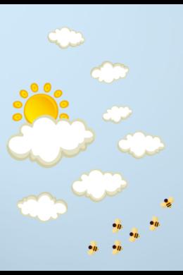 Napocska felhőkkel falmatrica csomag gyerekszobába