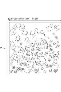 Vidám domboldal - színezhető falmatrica gyerekszobába - 65x65 cm