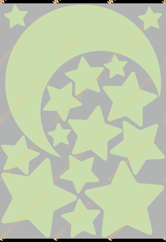 hold, csillagok világító falmatrica